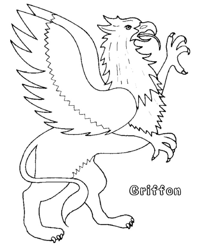 mythical creatures coloring pages - griffon 001