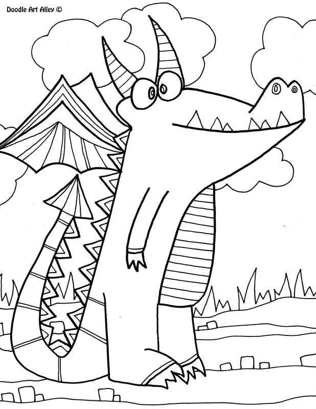 Mythical Creatures Coloring Pages - Mythical Creatures Coloring Pages Doodle Art Alley