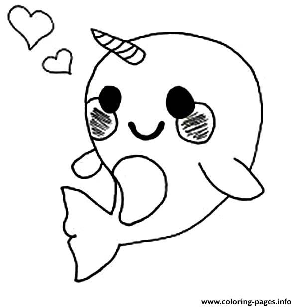 Narwhal Coloring Page - Cute Baby Narwhal Coloring Page Coloring Pages Printable