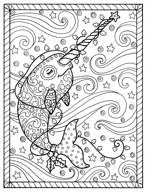 narwhal coloring page - narwhal christmas coloring pages adult