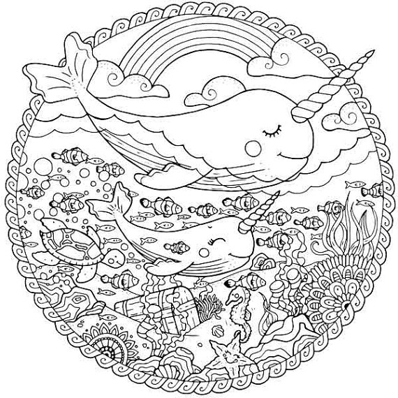 narwhal coloring page -