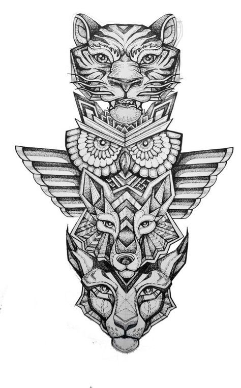 native american coloring pages - totem pole tattoo