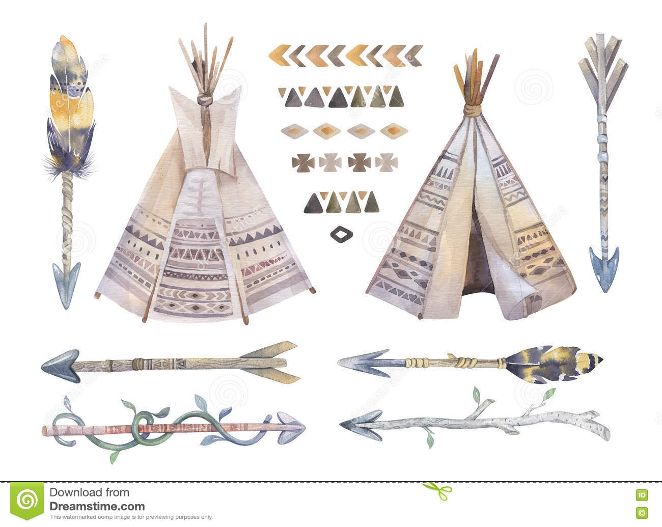 native american coloring pages - stock illustration watercolor teepee arrows fearhers tomahawk boho america indians tribal style travel tent decoration tipi isolated illustration image