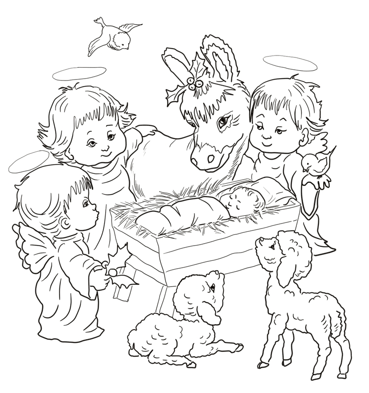 nativity scene coloring pages - kolorowanki z aniolkami aniolki