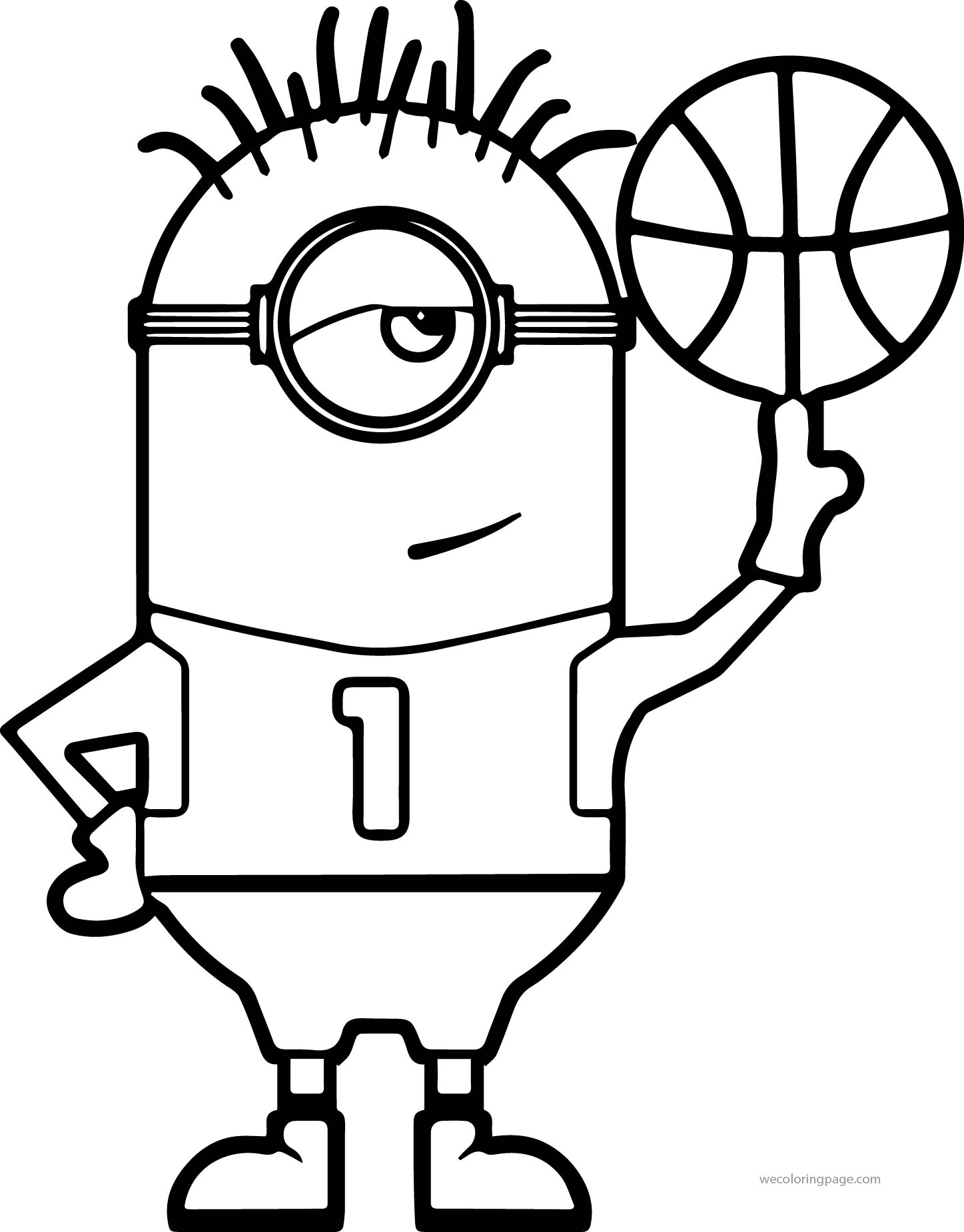 nba coloring pages - minion turn basketball coloring page