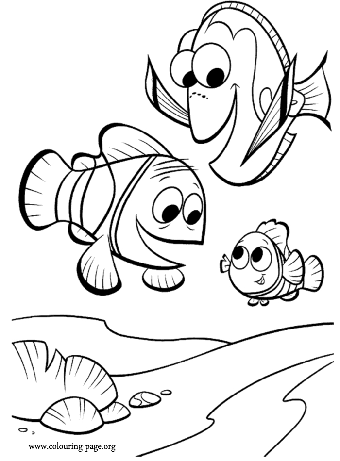 Nemo and Dory Coloring Pages - Finding Nemo Marlin Dory and Nemo Coloring Page