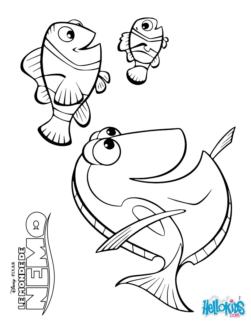 nemo and dory coloring pages - marlin dory and nemo
