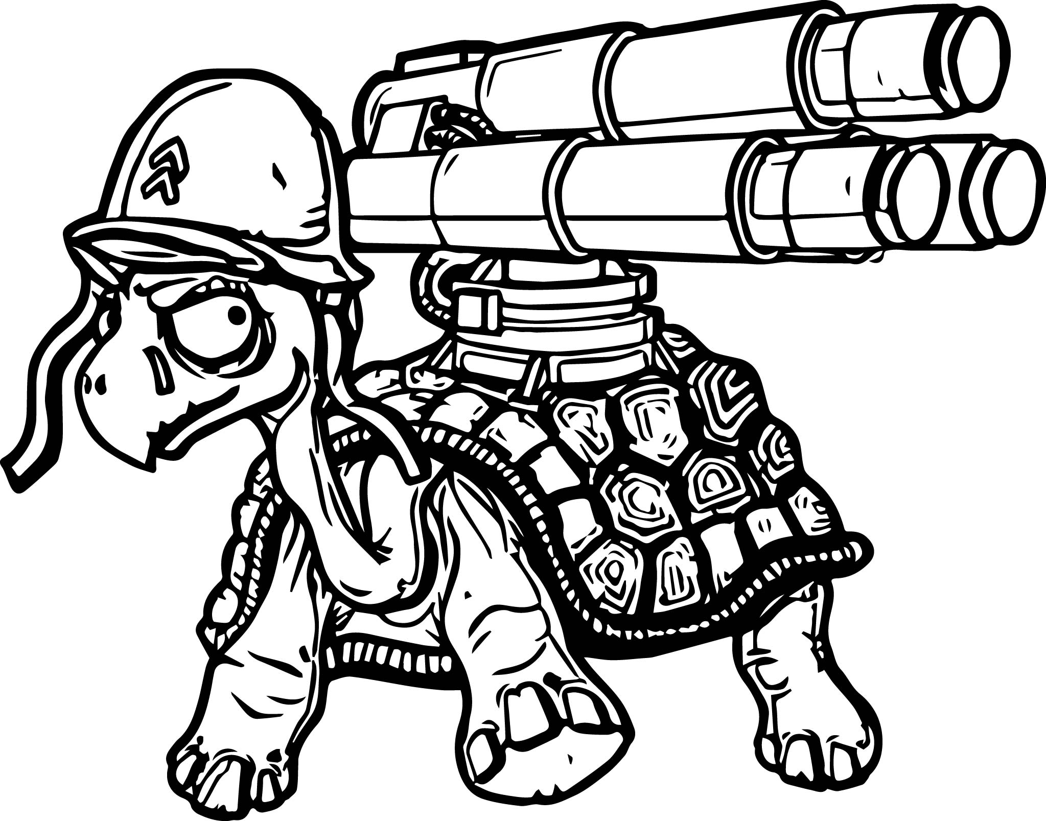 nerf gun coloring pages - danger tortoise turtle gun coloring page