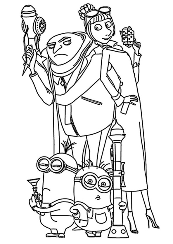 nerf gun coloring pages - minions 1