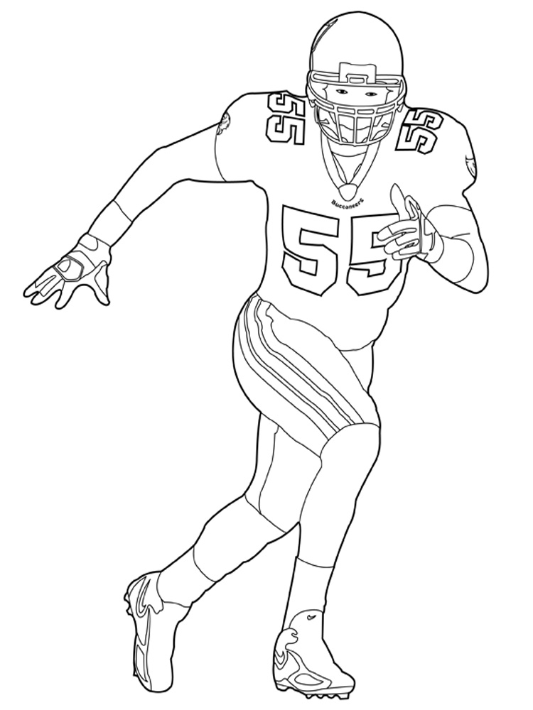 nfl coloring pages - coloring page of boy playing football