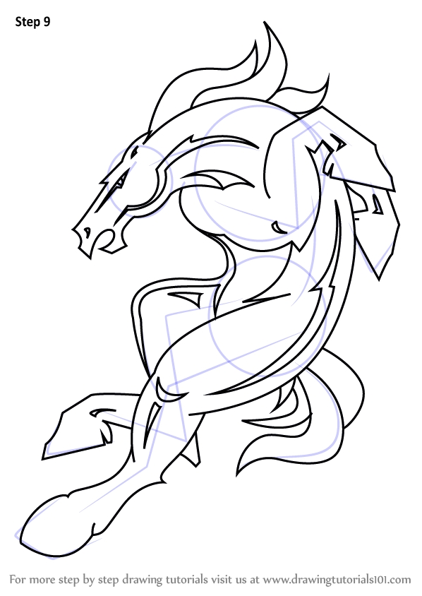 nfl coloring pages - how to draw denver broncos mascot