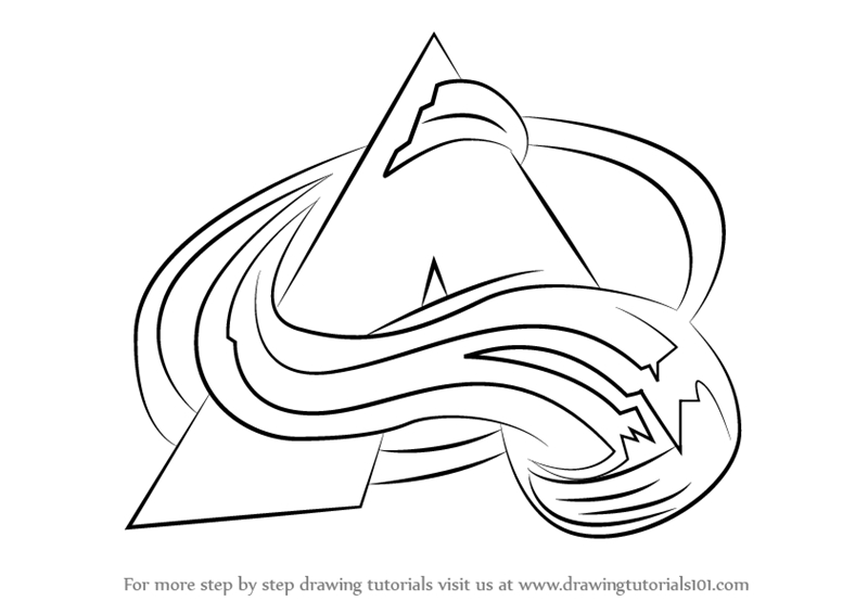 nhl coloring pages - how to draw colorado avalanche logo