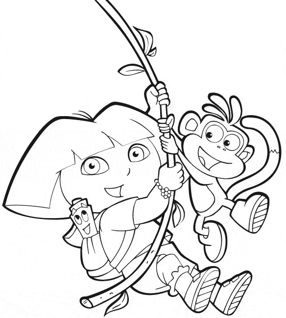 nickelodeon coloring pages - dora botas e mapa no cipo