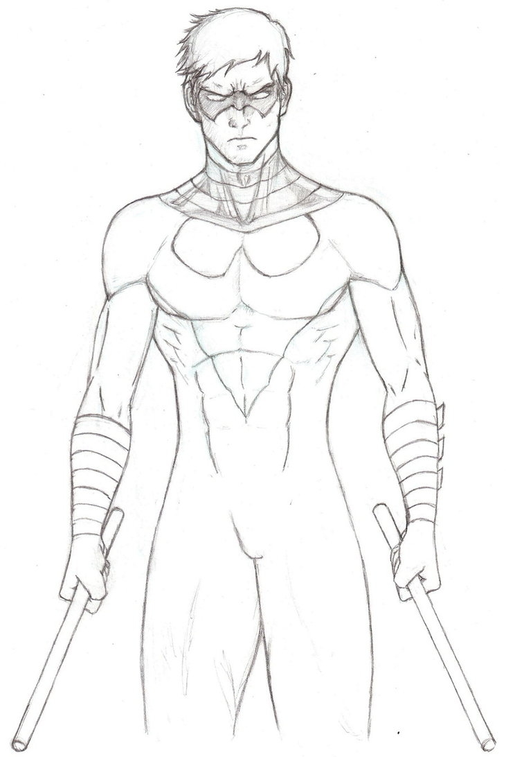 nightwing coloring pages - young justice nightwing coloring pages to print sketch templates