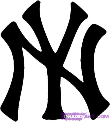 nike coloring pages - how to draw the new york yankees logo