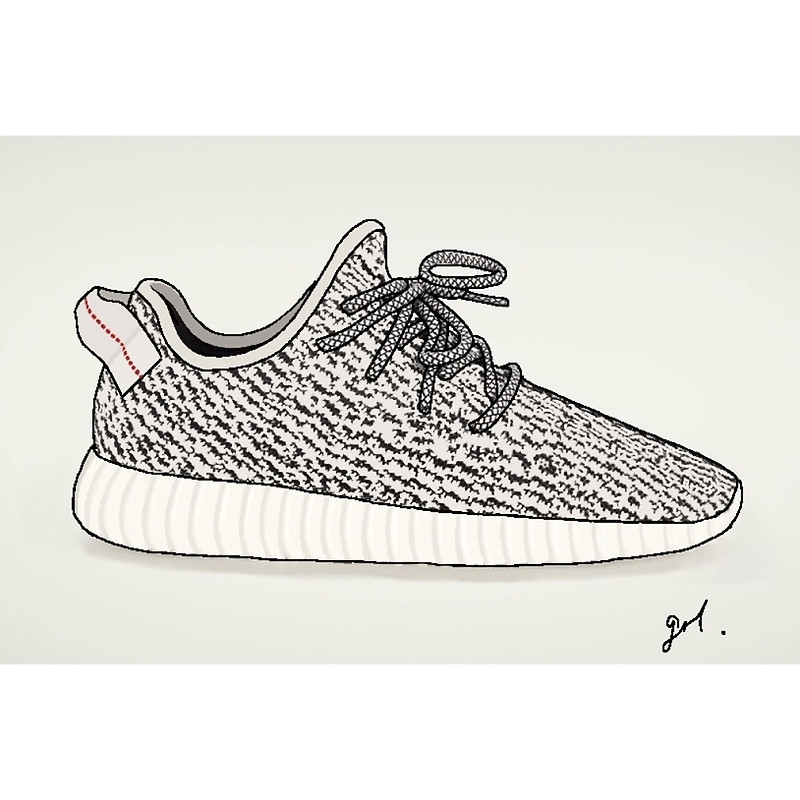 nike shoes coloring pages - yeezy boost 360 illustration p=art print