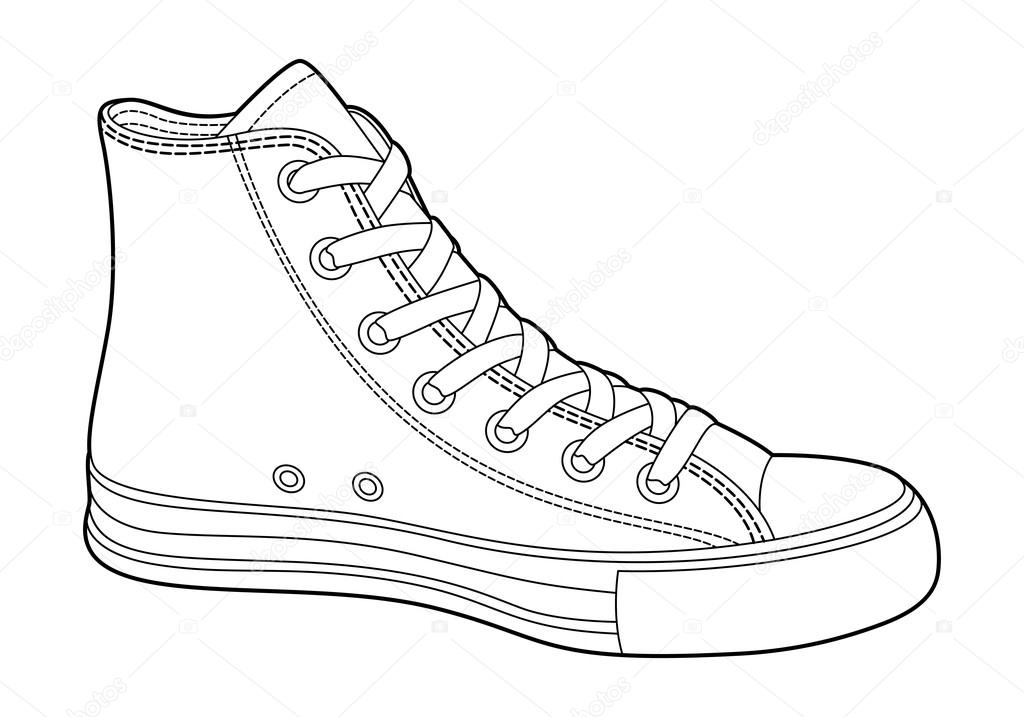 nike shoes coloring pages - stock illustration sneakers