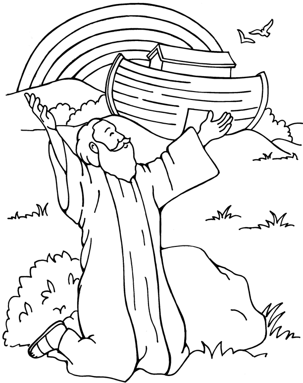 noah coloring page - q=noah and the rainbow