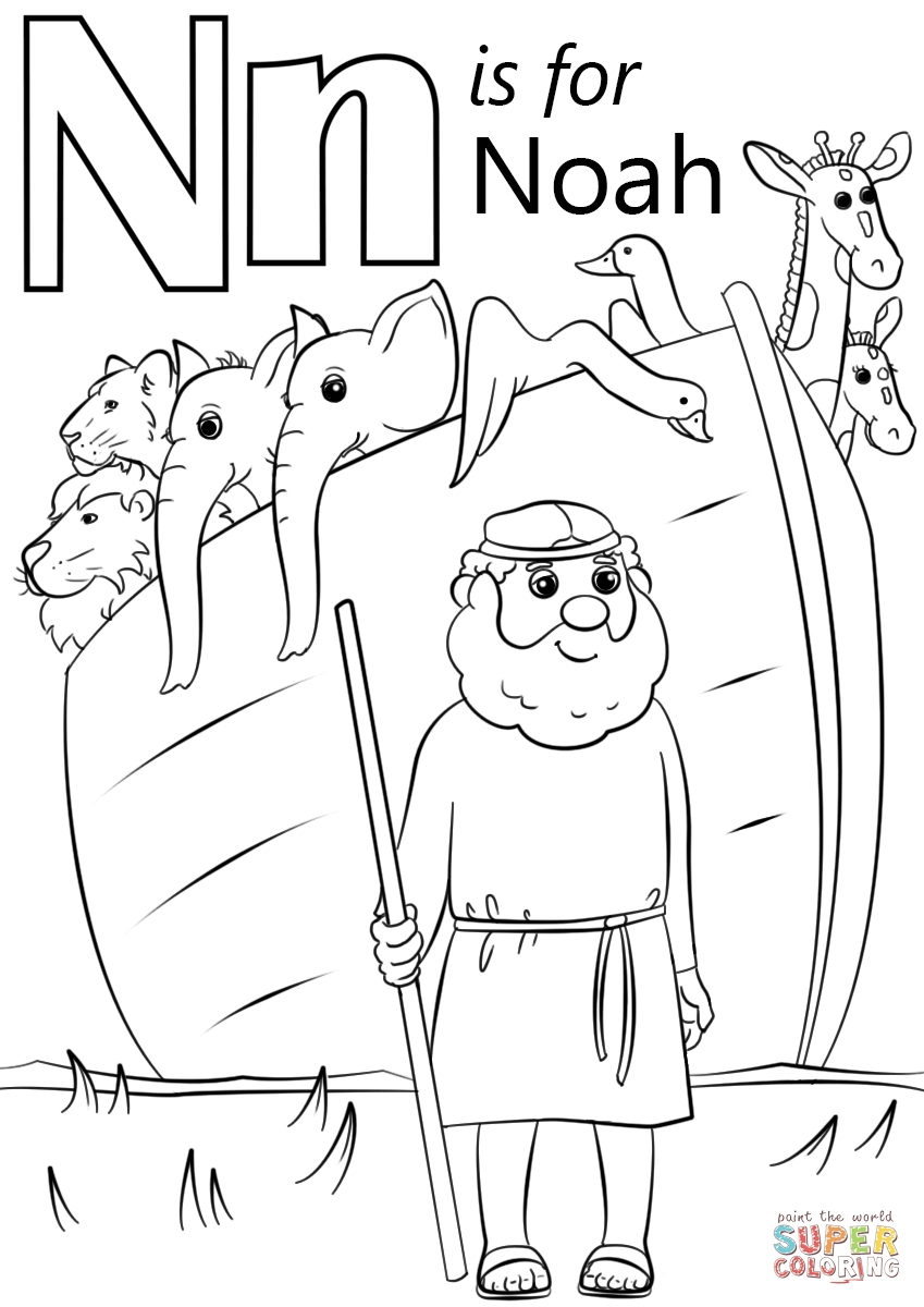 noah coloring page - letter n is for noah