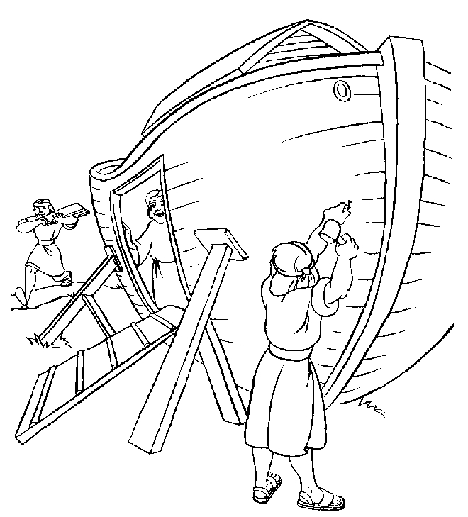 noah coloring page - noahs ark build coloring page