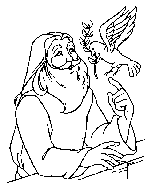 noah coloring page - noah with dove coloring page