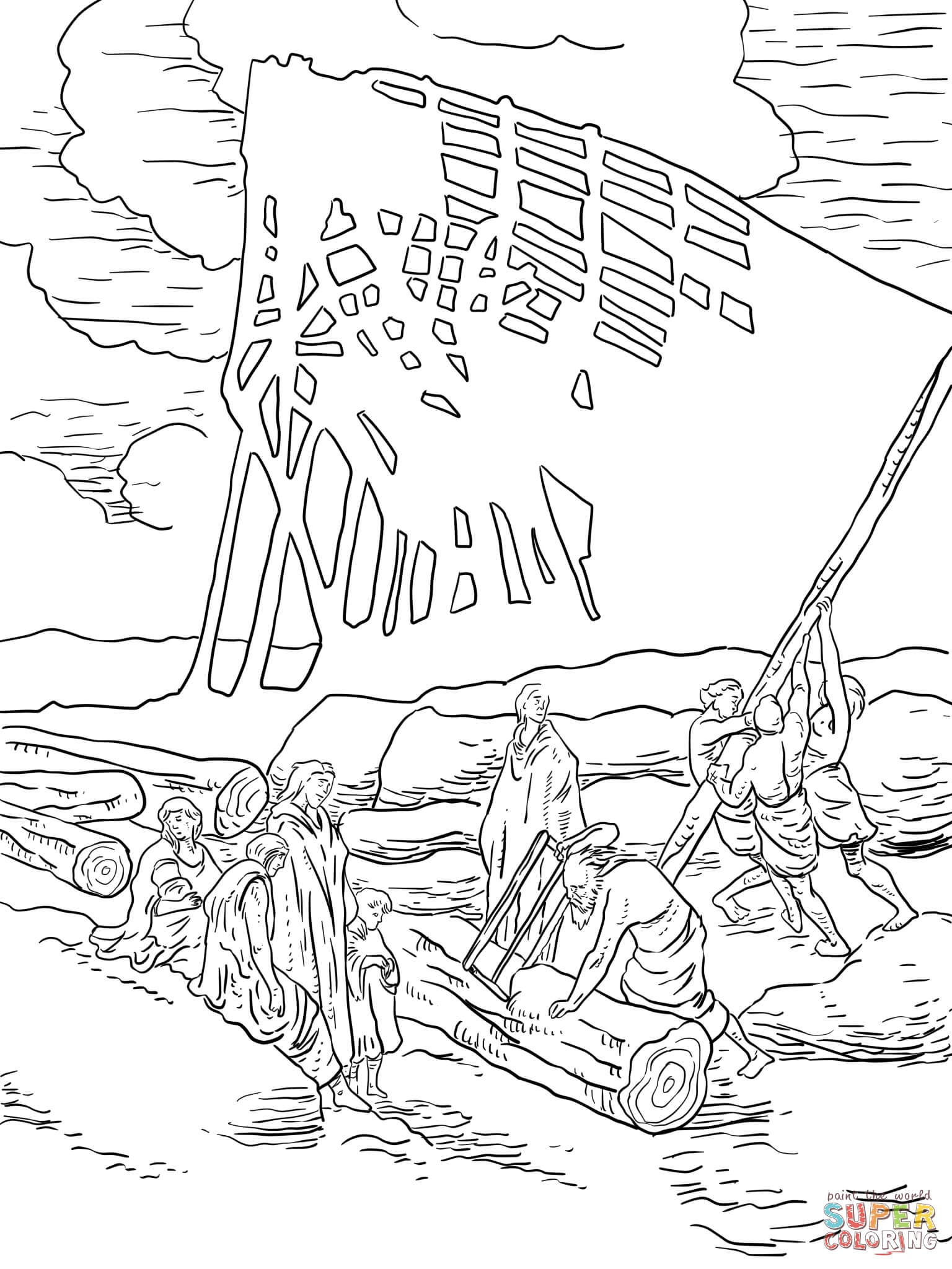 Noah Coloring Page - Stunning Click the Noah Building Ark Coloring Pages to