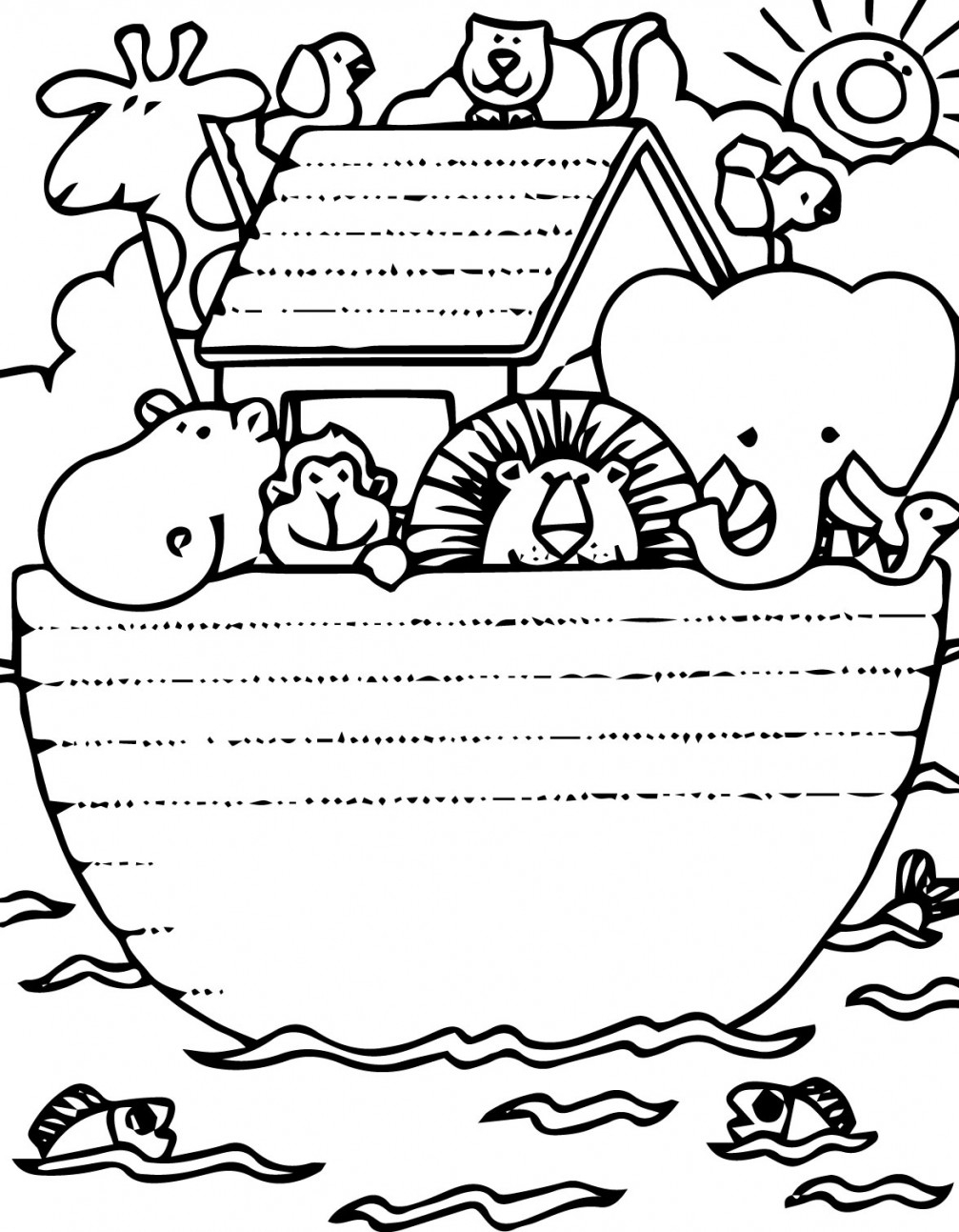 noah's ark printable coloring pages - sunday school on noahs ark craft and bible