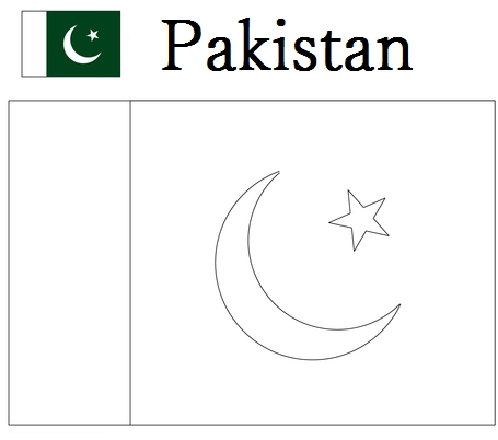 north america coloring page - pakistan flag coloring page