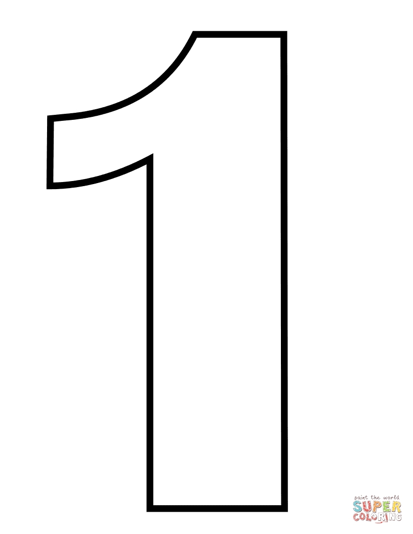 number 1 coloring page - number 1 2