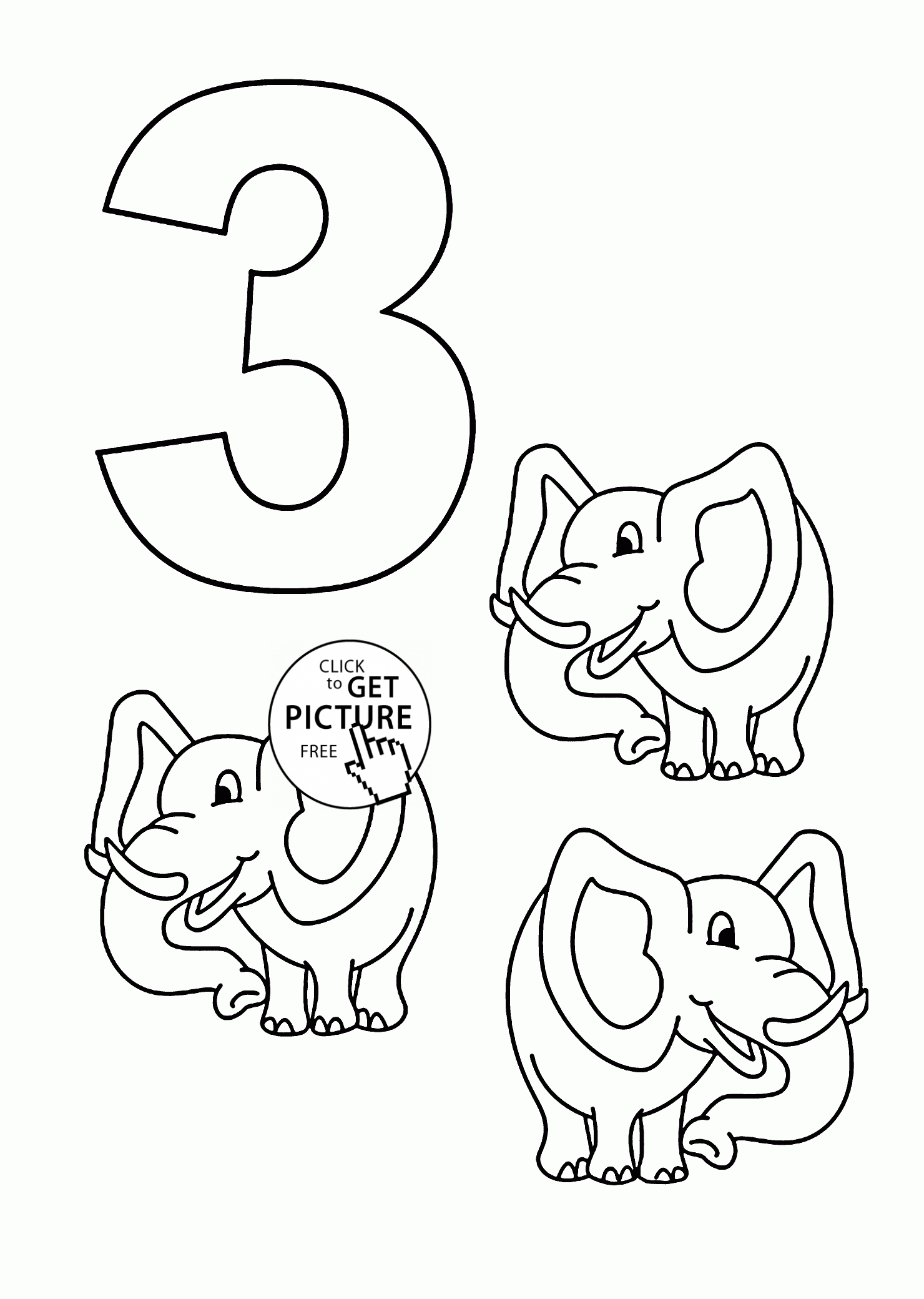number 3 coloring page - number 3 coloring pages for kids counting sheets printables free