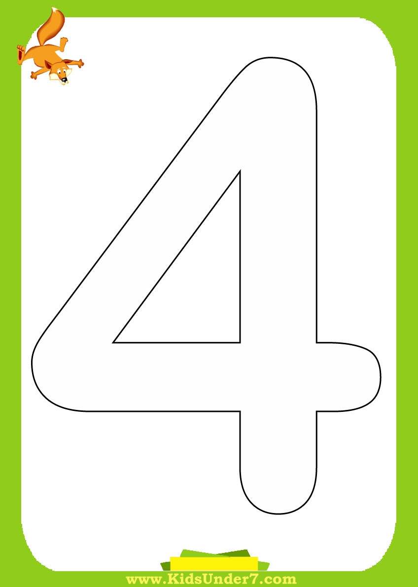 Number 4 Coloring Page - Number 4 Coloring Page Number 4 Coloring Page Printable