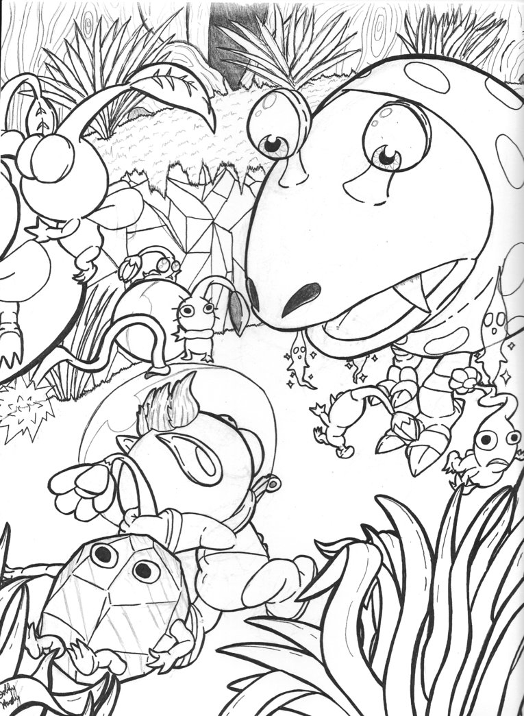 number 4 coloring page - pikmin 2 coloring pages sketch templates
