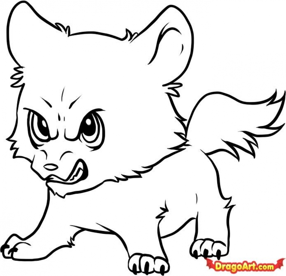 number 5 coloring page - cute wolf coloring pages