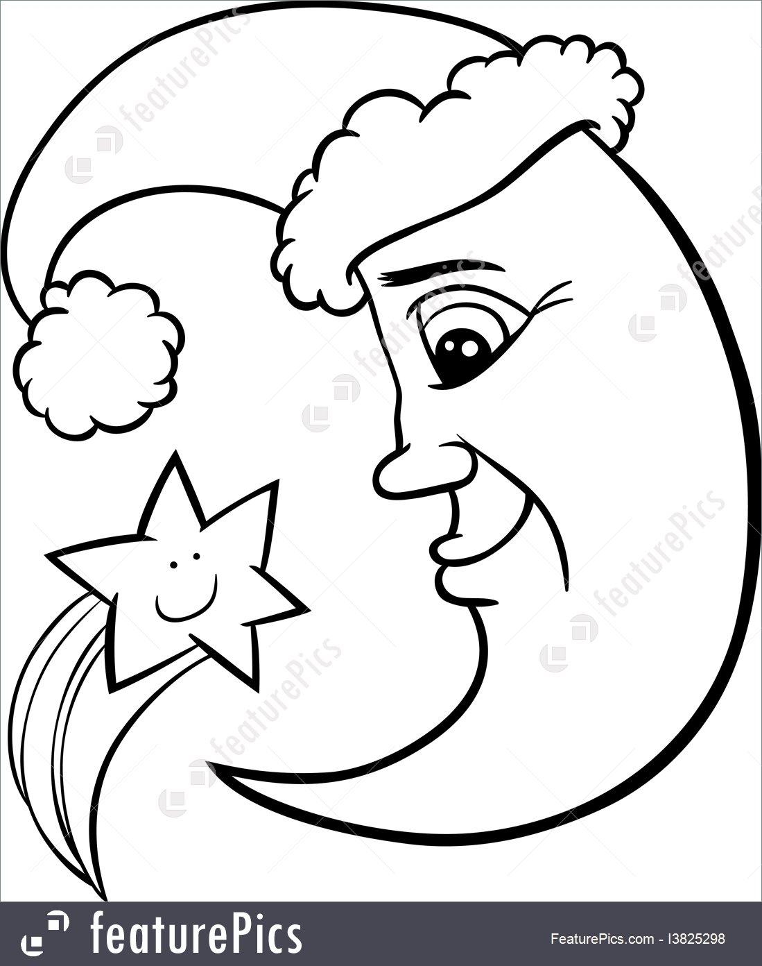 number 5 coloring page - Christmas Moon Star