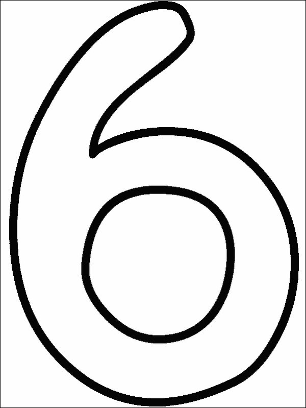 number 6 coloring page - Numbers