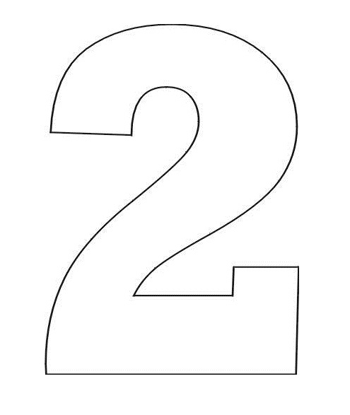 number coloring pages - 2 in number stencil