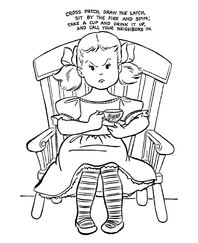 nursery rhyme coloring pages - Cross Patch 01