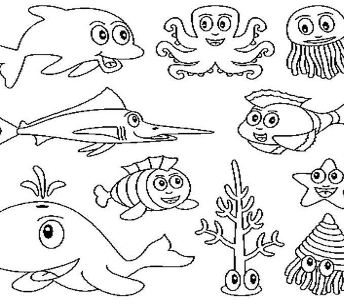 ocean animals coloring pages - ocean animal coloring pages