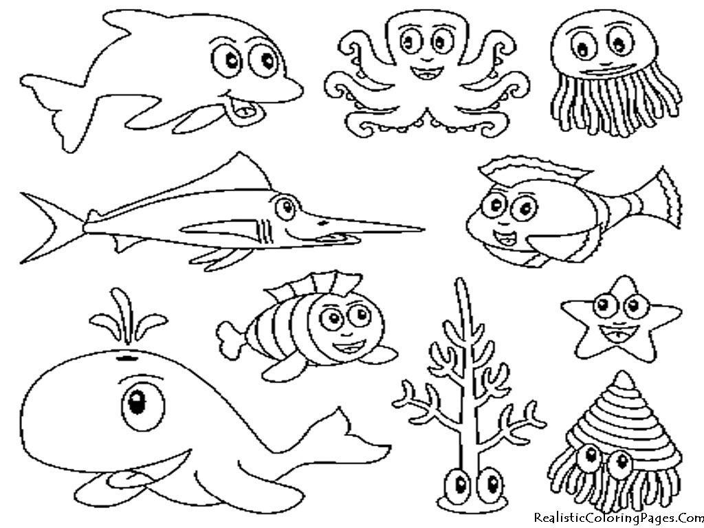 Ocean Animals Coloring Pages - Ocean Animals Coloring Pages