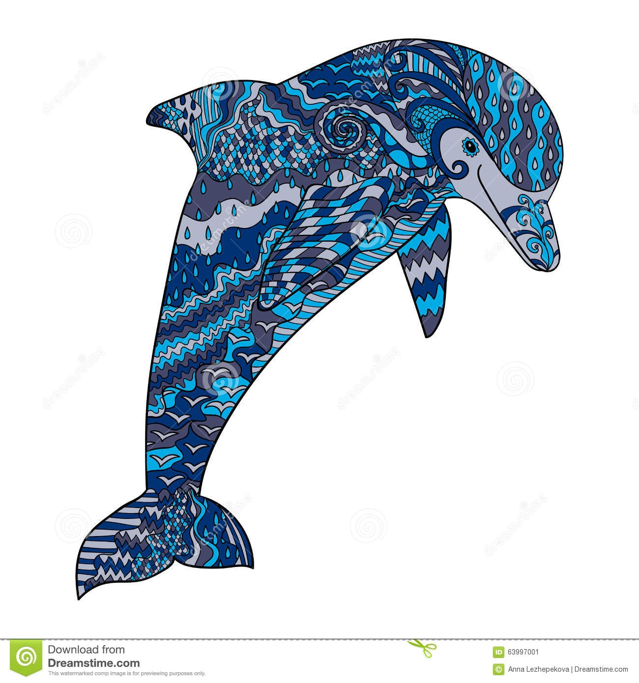 ocean coloring pages for adults - stock illustration color hand drawn doodle dolphin happy high details adult antistress coloring page colored oceanic animal sketch tattoo image