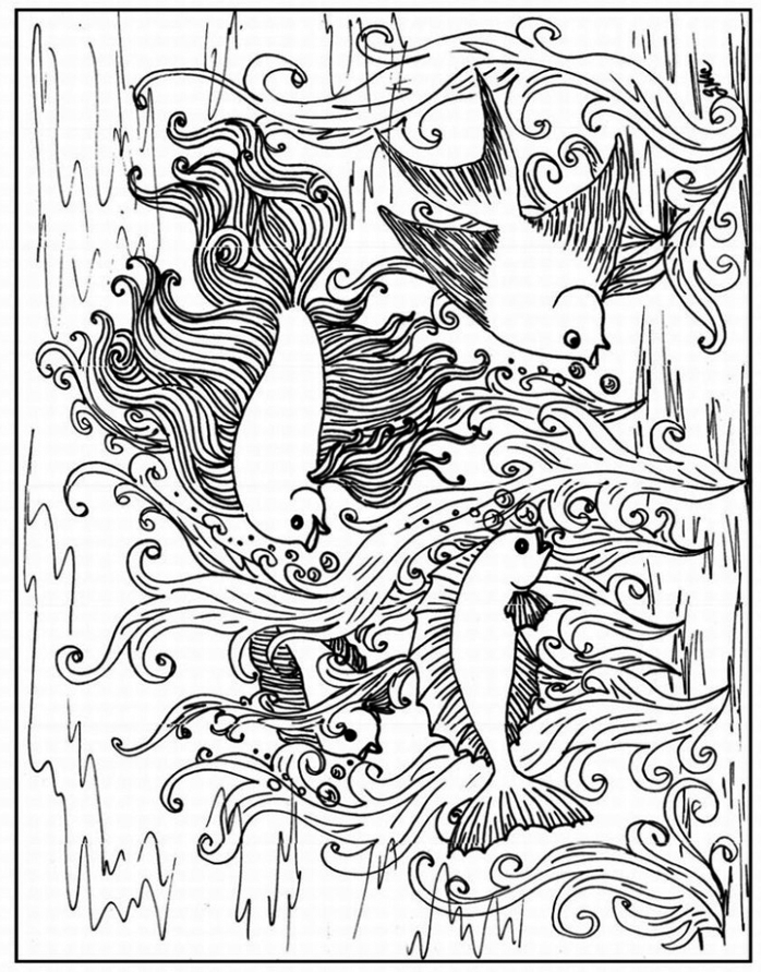 ocean coloring pages for adults - anti stress ocean