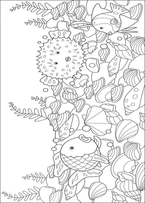 ocean coloring pages for adults - pintar colorir o peixe arco iris 006