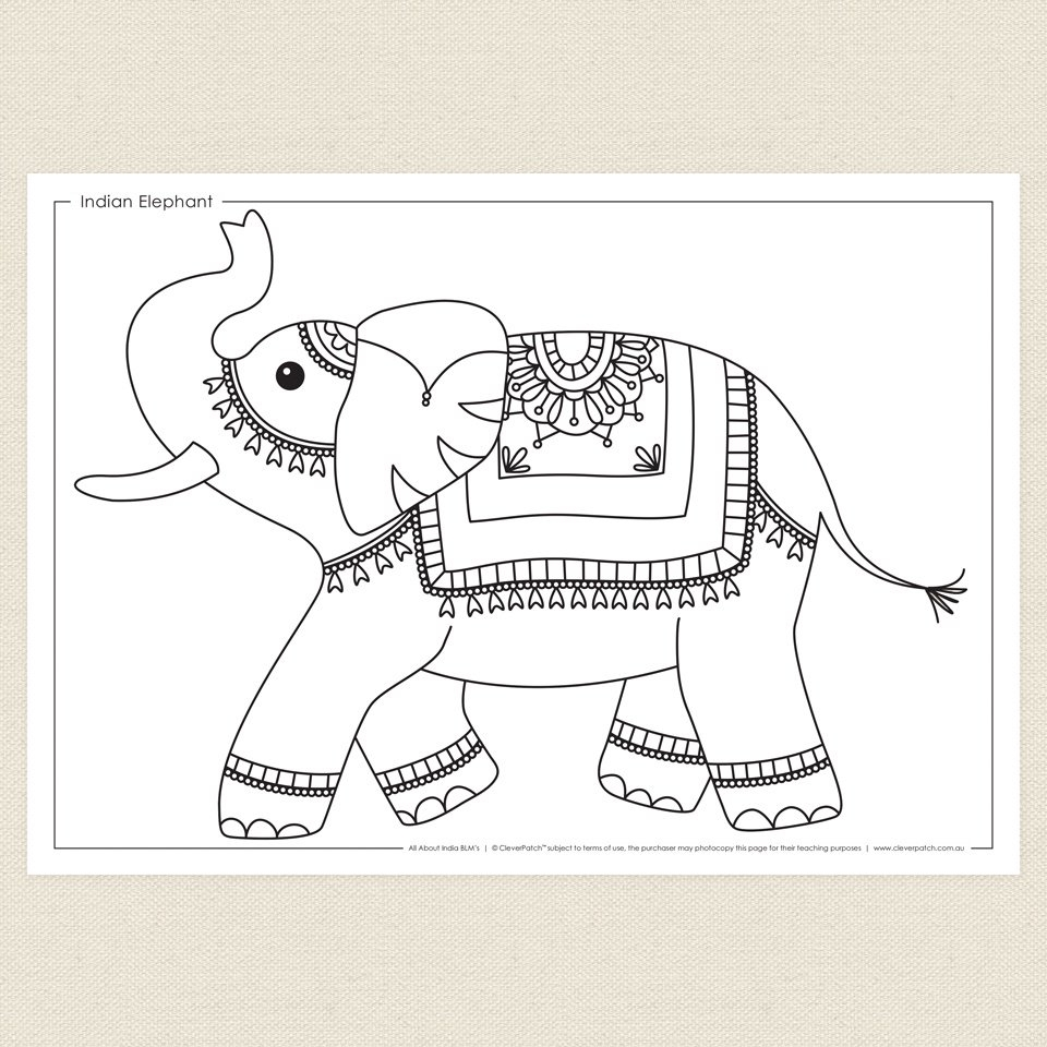 ocean coloring pages - indian elephant