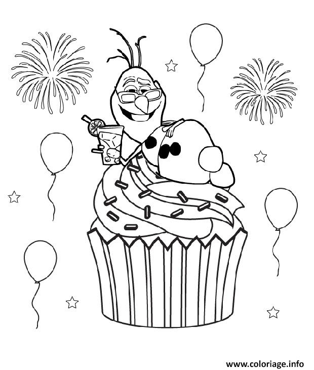 olaf coloring pages - olaf cupcake reine des neiges coloriage