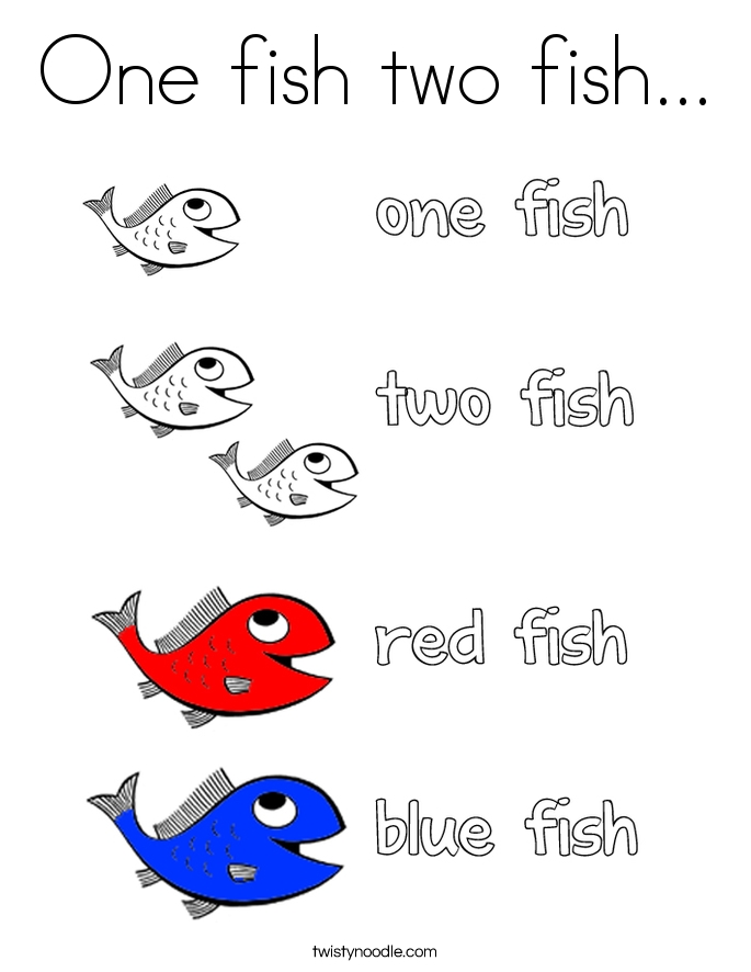 one fish two fish coloring page - one fish two fish 13 coloring page