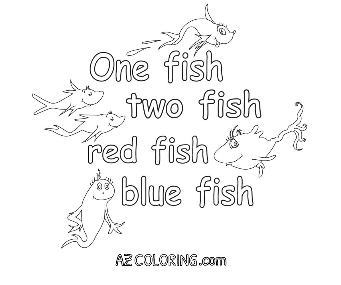 One Fish Two Fish Coloring Page - E Fish Two Fish Red Fish Blue Fish Coloring Pages