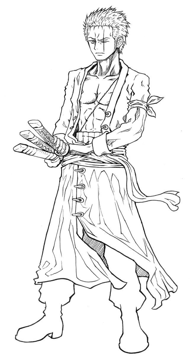 one piece coloring pages - Request Zoro 2y Lineart