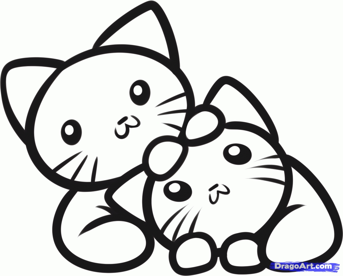 orange coloring page - kitten outline coloring page
