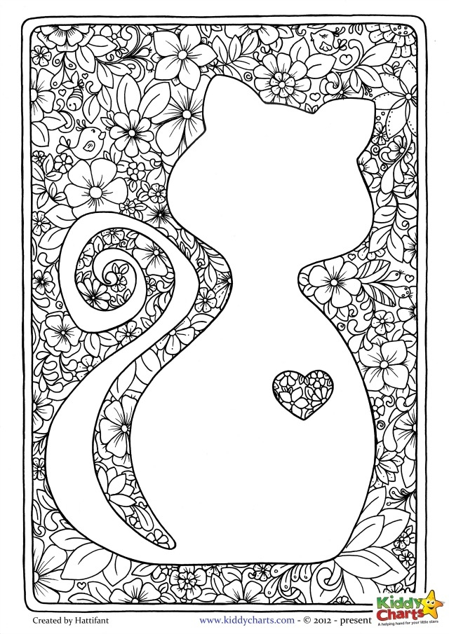 ornament coloring page - 4 malarbilder for dig som alskar katter