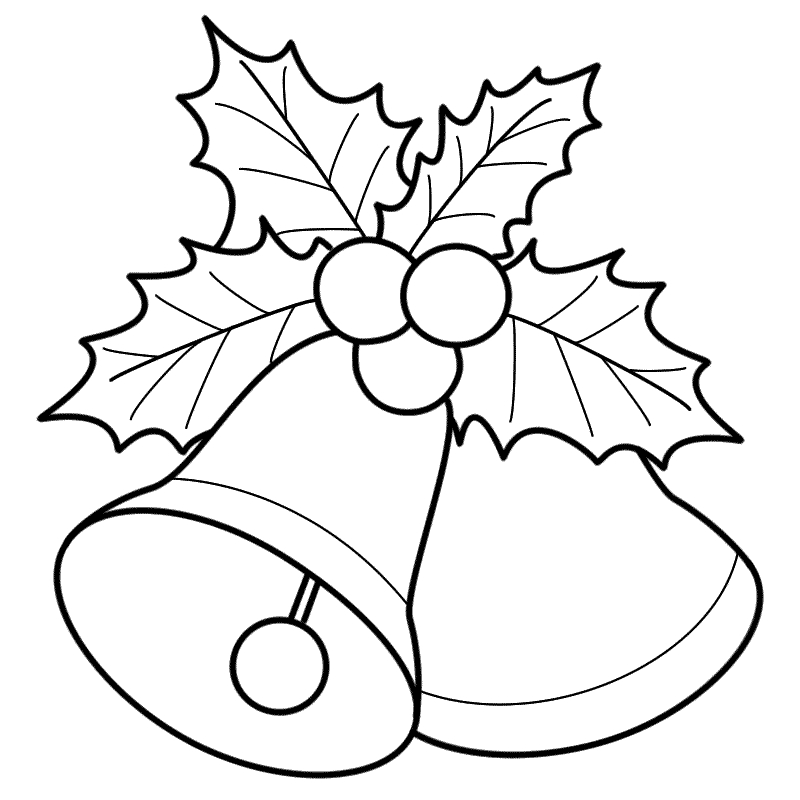 ornament coloring page - black white christmas bell clipart printable christmas bells